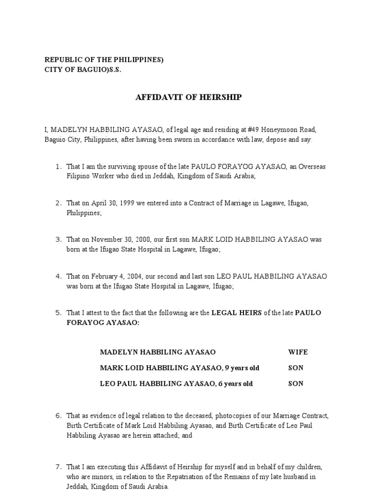 Sample Affidavit of Heirship Form from Heirship – Example of a Sworn Affidavit
