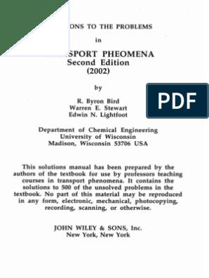 Transport Phenomena Bird Solution Manual