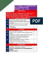 calendario  TEORÍA DE LA ARQUITECTURA Y ANÁLISIS DE LA FORMA