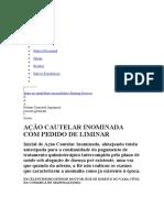 AÇÃO CAUTALAR INOMINADA  C p DE LIMINAR CONTRA PLANO NDE SAUDE