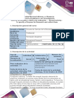 Activity guide and evaluation rubric - Second Activity - To specify a Purpose for Research and collect Data