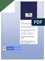 Trayectoria y propuesta de formación en lenguaje PTA