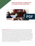Nulidad de la sentencia por falta de recopilación de medios probatorios durante la instrucción [Exp. 01951-2017] _ LP