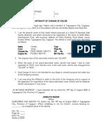 Affidavit of Change of Color