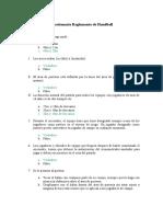 Cuestionario Reglamento de Handball