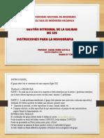 GESTION DE LA CALIDAD INSTRUCCIONES MONOGRAFIA