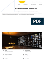 Visual Cultures, Curating and Contemporary Art