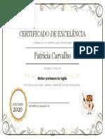 Certificado de Excelência Inglês