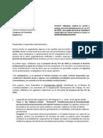 Carta personal de la salud al gobierno
