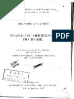 Planalto Meridional Do Brasil - Orlando Valverde - 1957