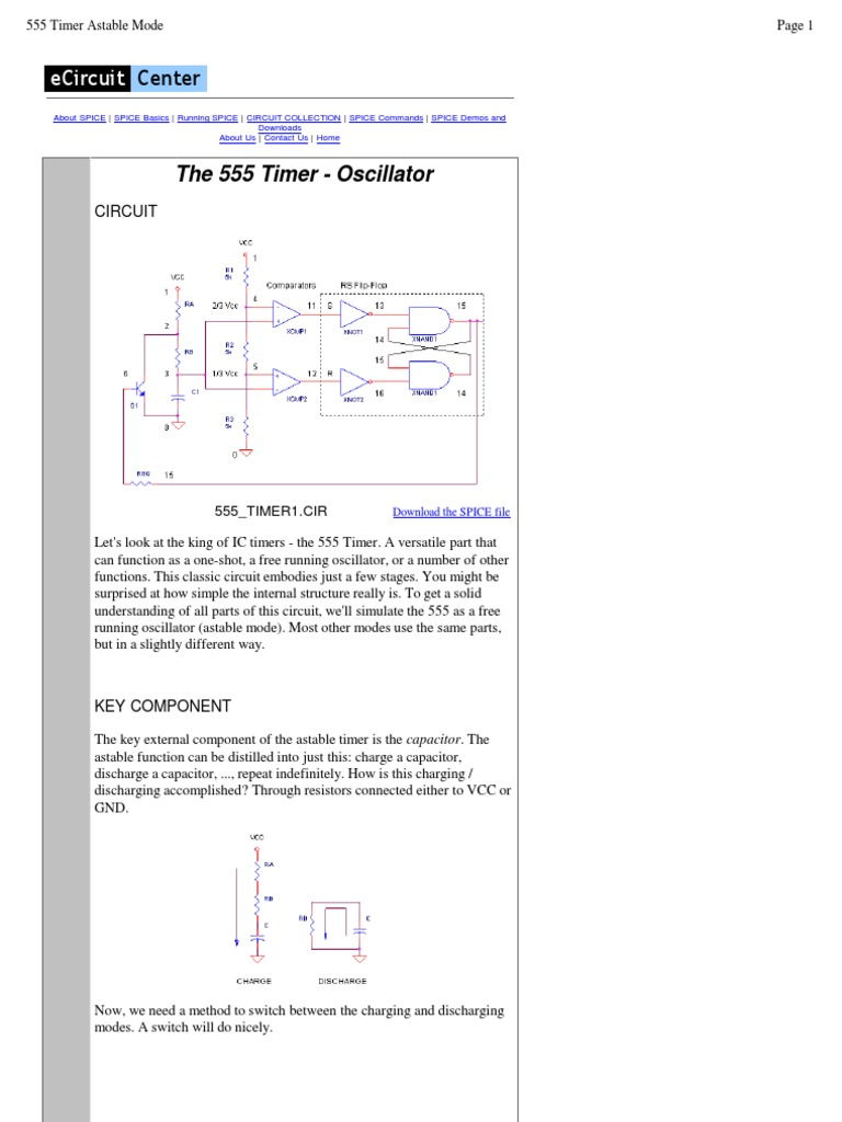 555 Timer Tutorial Spice Electronic Circuits Ic Internal Structure Working Pin Diagram And Description
