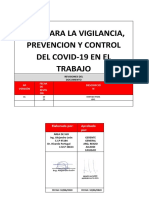 PLAN PARA LA VIGILANCIA, PREVENCION Y CONTROL DE COVID-19 EN EL TRABAJO