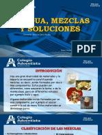 EL AGUA, MEZCLAS Y SOLUCIONES