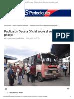 Diario El Periodiquito - Publicaron Gaceta Oficial sobre el aumento del pasaje
