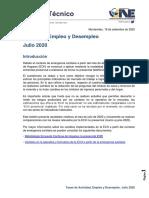 Actividad, Empleo y Desempleo Julio 2020