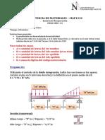 Examen de Recuperación - Resistencia de Materiales - Ciclo 2020 01 - WA