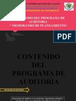 N° 1 - CONTENIDO DEL PROGRAMA DE AUDITORIA - MEMORANDO DE PLANEAMIENTO