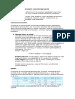 Aspectos complementarios en la evaluación de proyectos