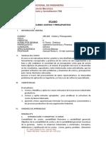 COSTOS Y PRESUPUESTOS SILABO  2020-I