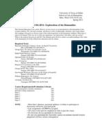 UT Dallas Syllabus for huma1301.hn1.11s taught by Michael Wilson (mwilson)