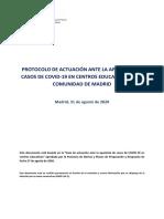 Protocolo actuacion casos COVID-19 en centros educativos CM
