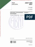 NBR 6027 (2012) - Informação e Documentação (Sumário - Apresentação)