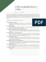 Metodología 8D con plantilla Excel y diagrama de flujo