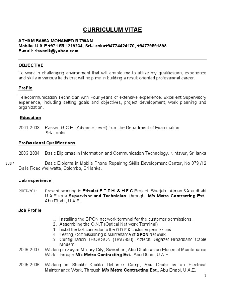ftth technician cv new upgraded - Cable Technician Resume