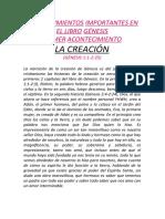ACONTECIMIENTOS IMPORTANTES EN EL LIBRO GÉNESIS CESIA