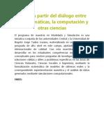 Innova a Partir Del Diálogo Entre Las Matemáticas
