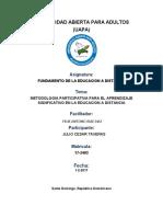 tarea (5) METODOLOGIA PARTICIPATIVA PARA EL APRENDIZAJE SIGNFICATIVO EN LA EDUCACION A DISTANCIA UAPA