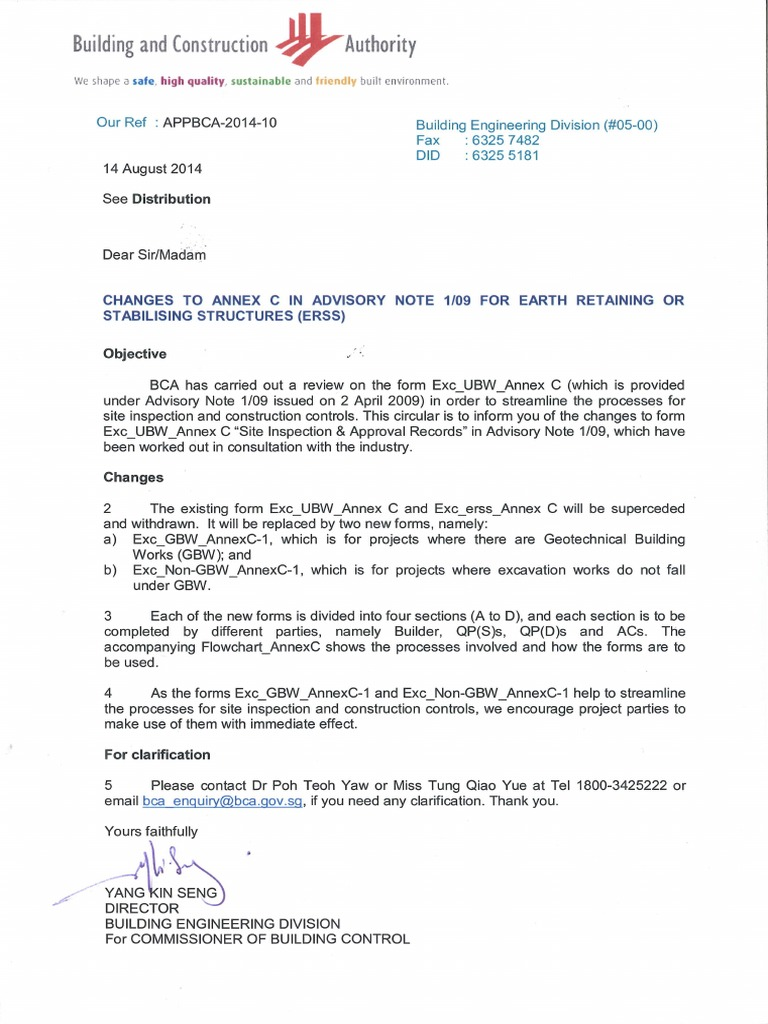 Bca Circular Change Of Annex To Advosory Note 1 09 Real Estate Law Economic Sectors