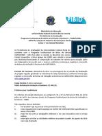 Edital Seleção bolsistas Iniciação à Docência PIBID 08-2016