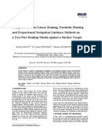 Comparison of the Linear Homing, Parabolic Homing and Proportional Navigation Guidance Methods on a Two-Part Homing Missile against a Surface Target
