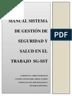 MANUAL SISTEMA DE GESTION DE SEGURIDAD EN EL TRABAJO SG-SST