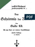 Guido Von List - Das Geheimnis Der Runen