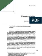 Arancibia, Juan Pablo - el lenguaje y lo politico