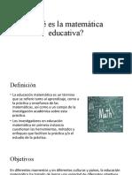 Qué es la matemática educativa