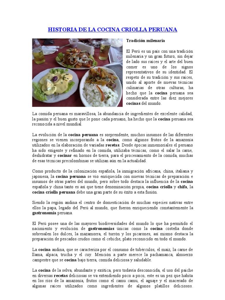 Historia de la cocina criolla peruana for Historia de la gastronomia pdf
