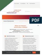 Mécatronique, robotique - École Universitaire de 1er cycle Paris-Saclay_1600118963577