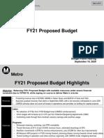 Metro Budget Presentation Sept. 2020