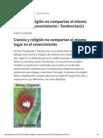 Ciencia y religión no comparten el mismo lugar en el conocimiento • Tendencias21