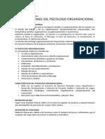 ROL Y FUNCIONES SOBRE EL PSICOLOGO ORGANIZACIONAL.