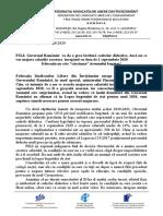 COMUNICAT DE PRESĂ FSLI Reactie rectificare bugetara 14.08.2020