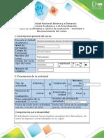 Guía de actividades y rubrica de evaluación - Actividad 1 - Reconocimiento del curso.