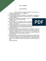 AULA 3 - Lista de exercícios