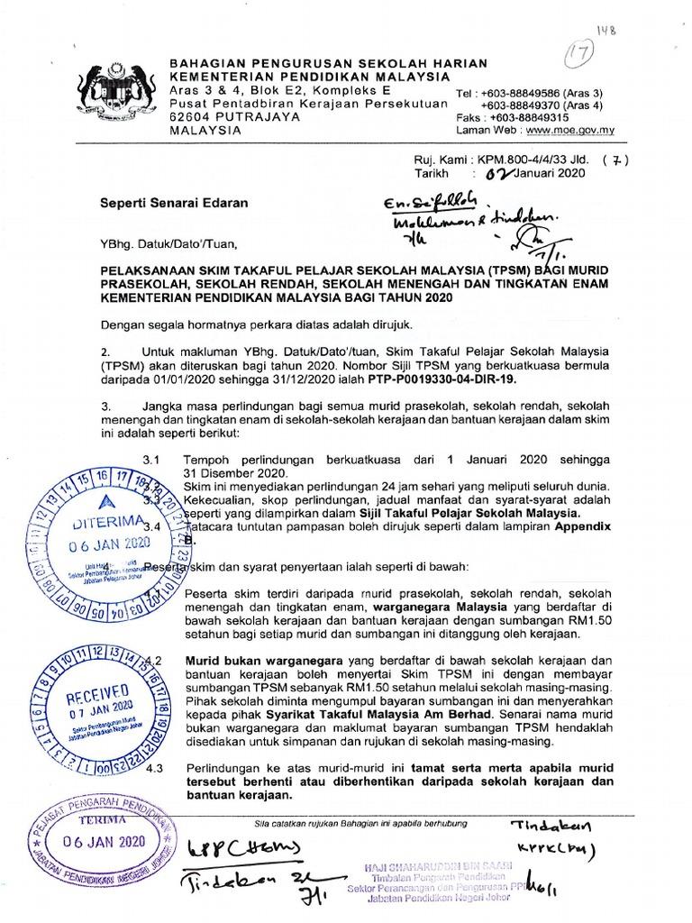 Pelaksanaan Skim Takaful Pelajar Sekolah Malaysia 2020 Pdf