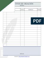 Plantilla Lista motivos de oración - PorFeyParaFe