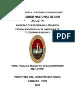 ANALISIS DE LA CORRUPCION EN EL PERU. JAVIER PACHECO ÑAUPA.1