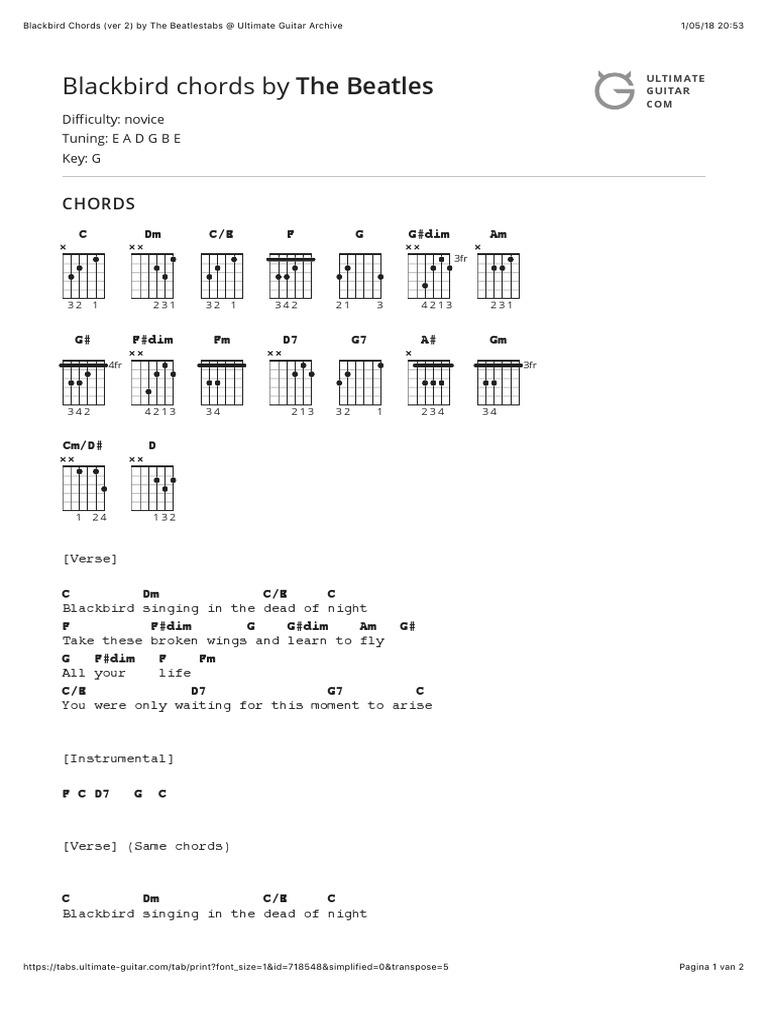 Blackbird Chords Ver 15 by The Beatlestabs at Ultimate Guitar ...